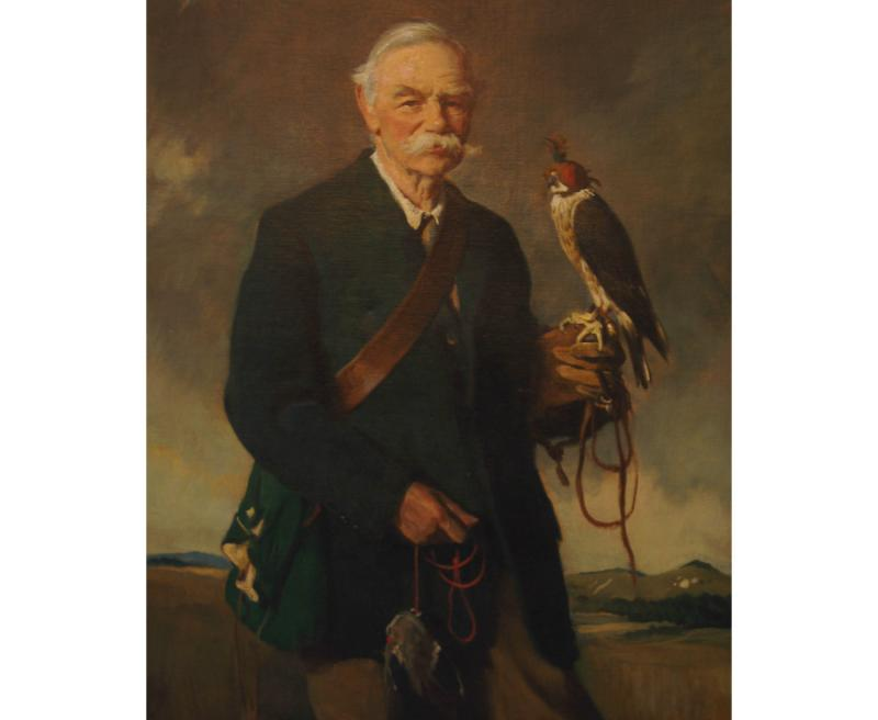 Portrait of George Blackall Simonds holding a falcon by Sir Oswald Birley. Oil on canvas.