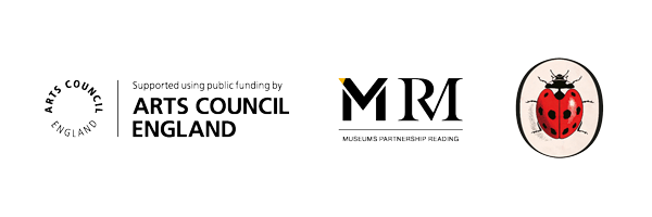 The Arts Council England logo, The Museums Partnership Reading logo and the Ladybird Books logo