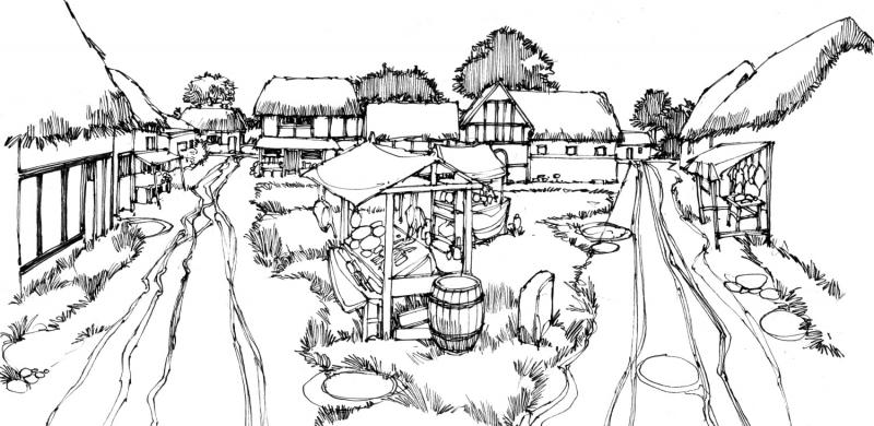 an artist's impression of Reading's medieval market