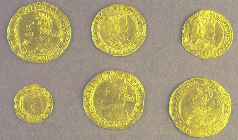 eight coins from the Yield hall coin hoard of seventeen gold coins discovered in 1934