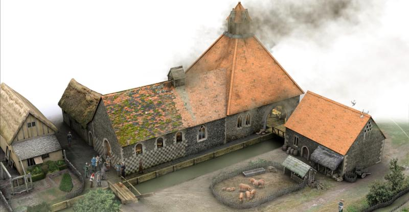 reconstruction drawing of the Oracle cookshop