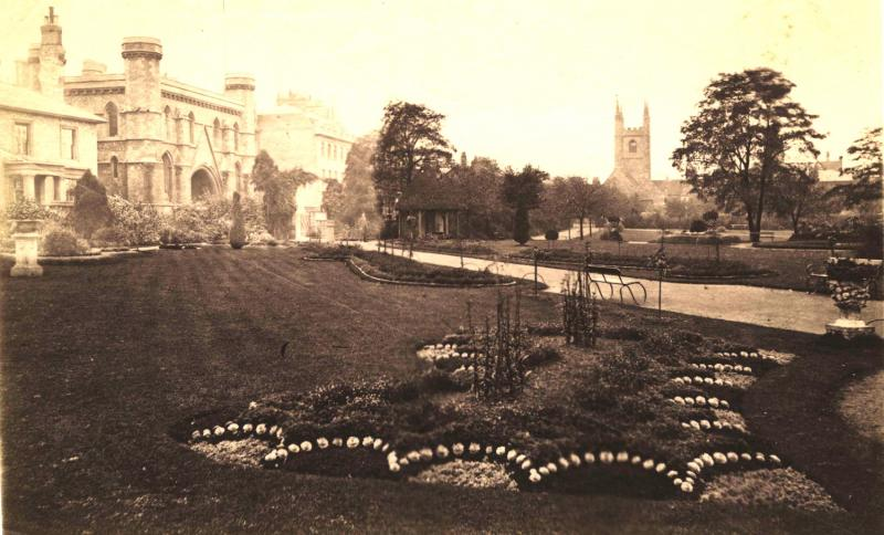 Forbury Gardens flower beds looking towards the Abbey Gate