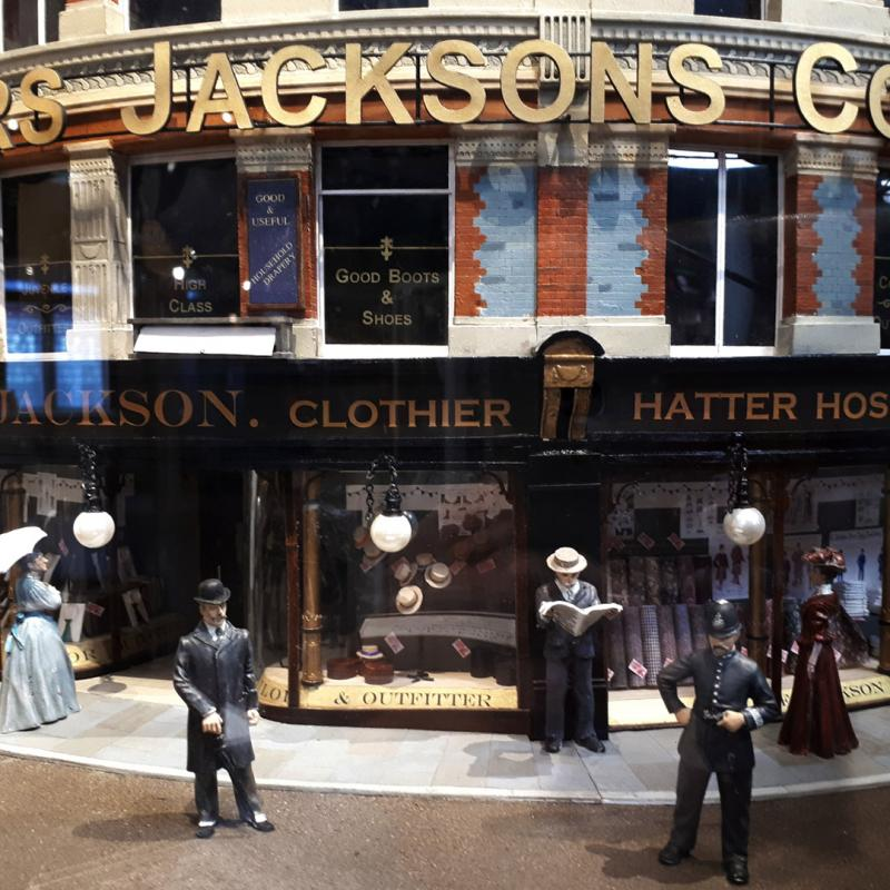 A replica model of the Jacksons of Reading storefront.