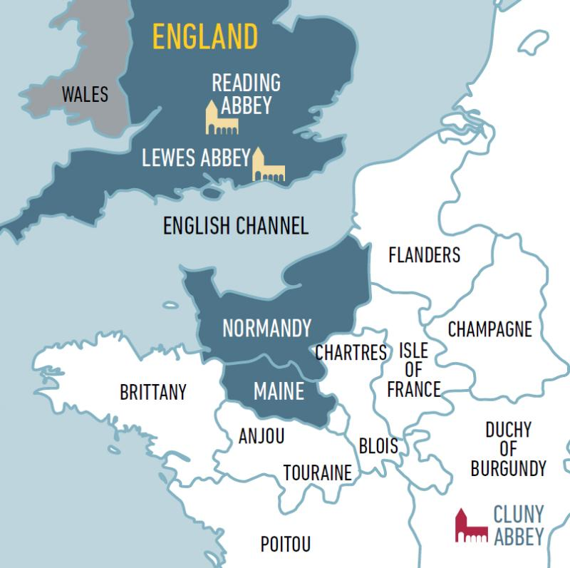 A map of southern England and northern France to show the locations of the Abbeys of Cluny, Lewes and Reading.