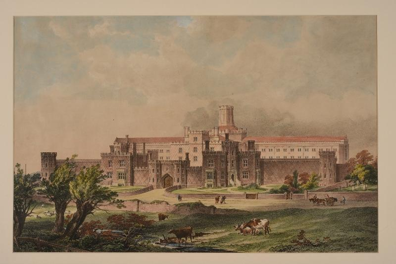 Painting of 'the new county gaol' of Reading in 1844