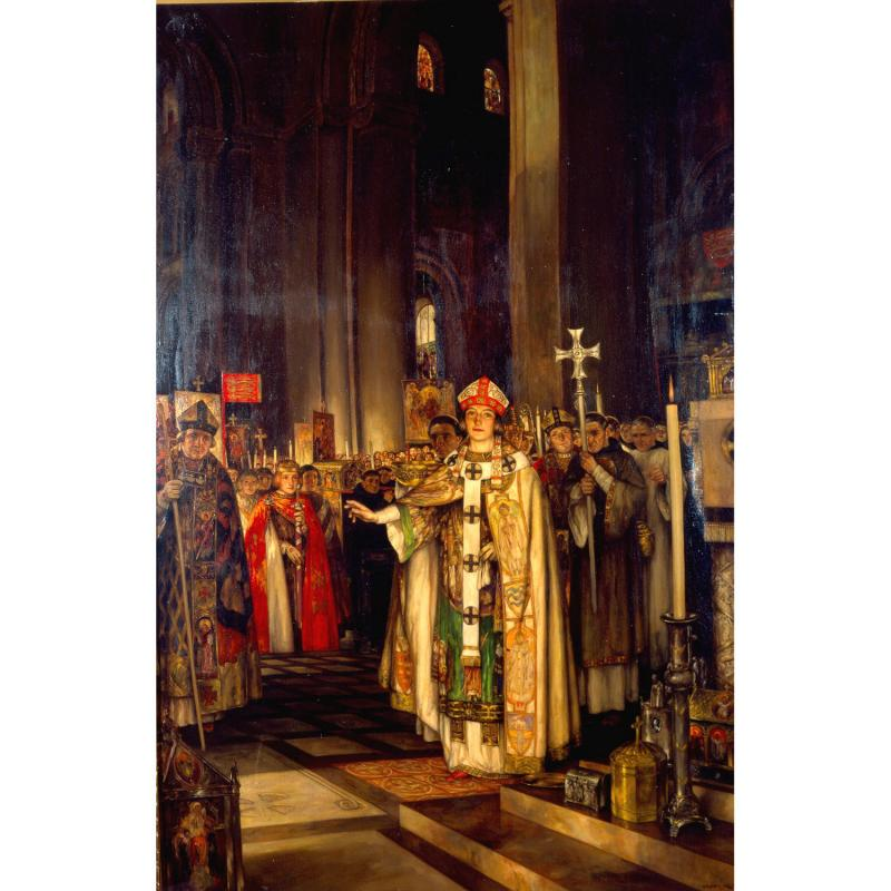 A painting depicting the consecration of the Reading Abbey church by Archbishop Thomas Becket in 1164 by Stephen Reid, 1920.