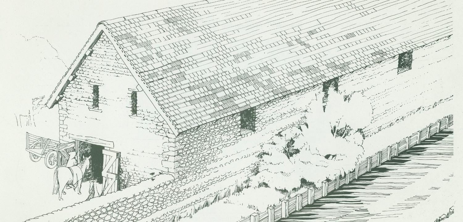 Reconstruction of the late 12th century abbey stables beside the Holy Brook
