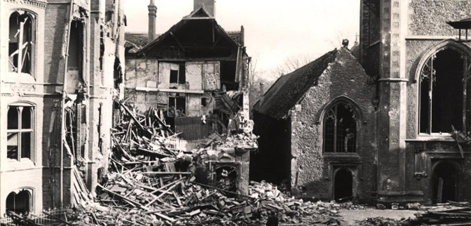 Damage to the Town Hall Square after an air raid on Reading.