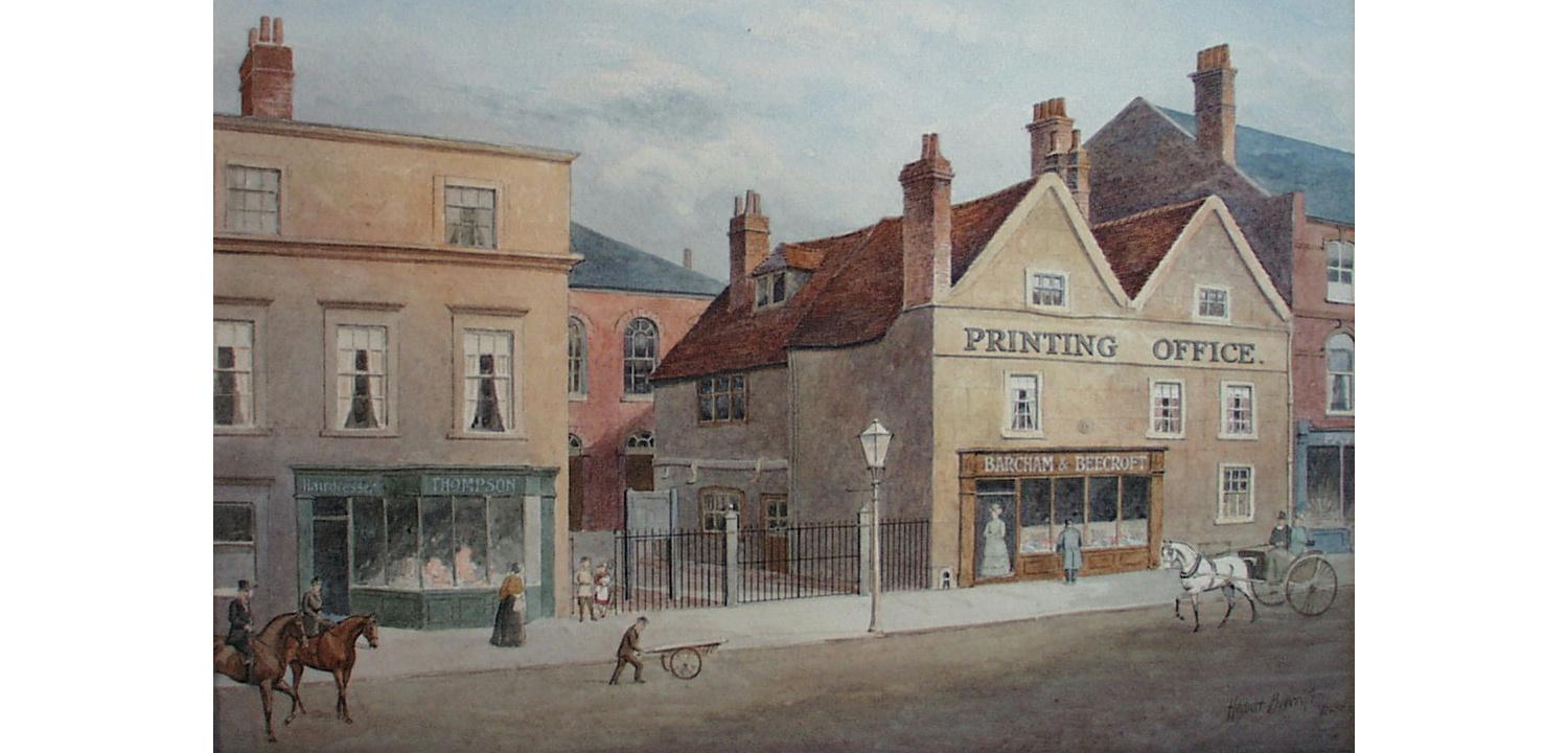 Part of Broad Street in 1879. Congregational Church, and Old Printing Office', by Herbert Beecroft, 1899