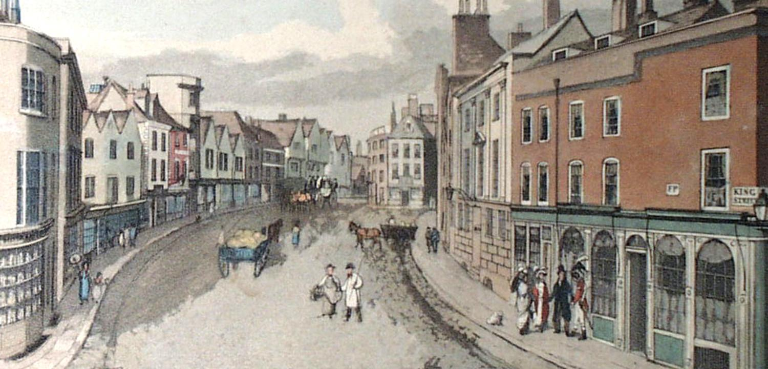 engraving of King Street, by W.H. Timms Jan 1823