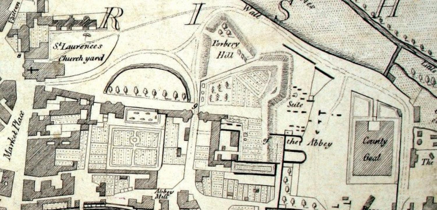 Forbury Hill on Tomkins map of Reading 1802