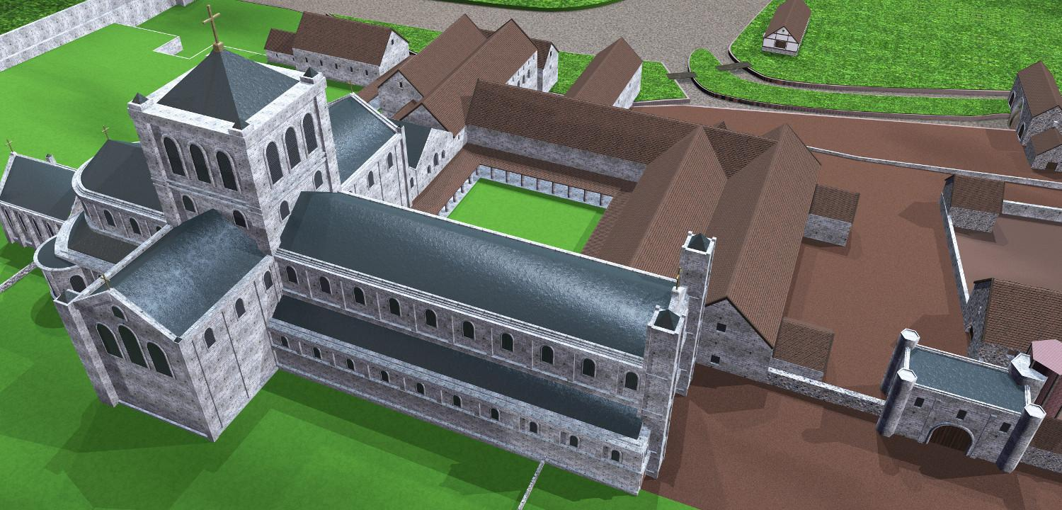 Digital reconstruction of Reading Abbey centred on the church and looking south