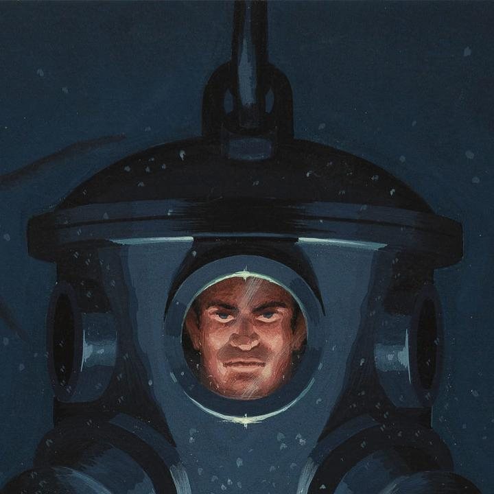 A man in a diving suit, a Ladybird Books illustration.