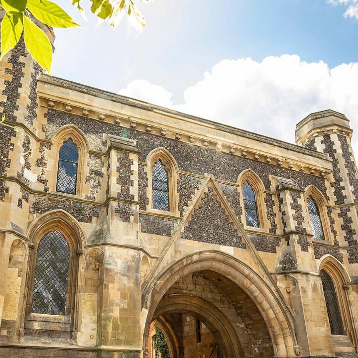 The restored Reading Abbey Gateway in 2019