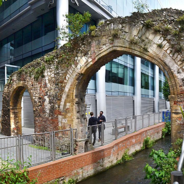 A remaining arch from the Reading Abbey mill.