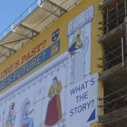 temporary scaffolding banner on the Abbey Gate