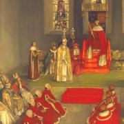 detail of Henry VI parliament at Reading Abbey 1453